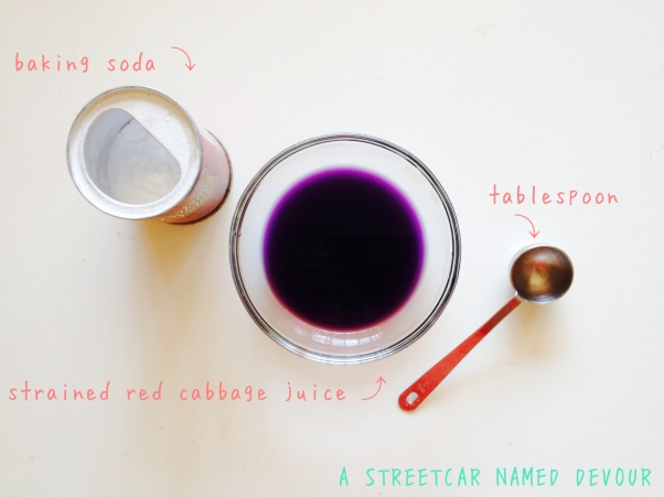 Once drained, your drained red cabbage juice will look like this.